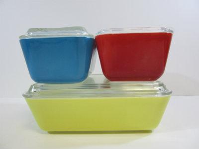 Vintage Pyrex Set Of 4 Complete Refrigerator Dishes